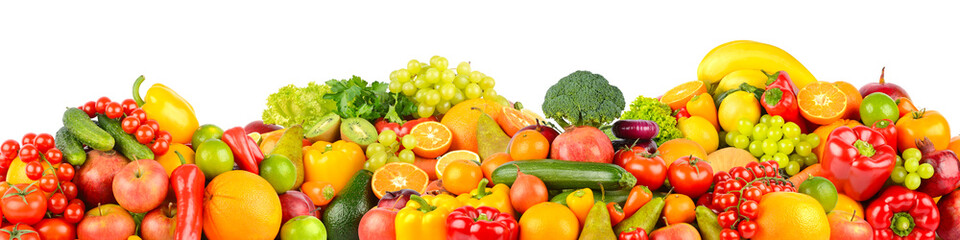 Wall Mural - Collage of healthy fresh fruits and vegetables isolated on white background.