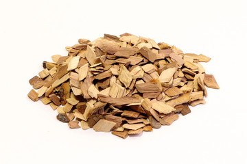 Keuken foto achterwand Brandhout textuur Wood chips isolated on a white background.Splinter. A sliver of wood.
