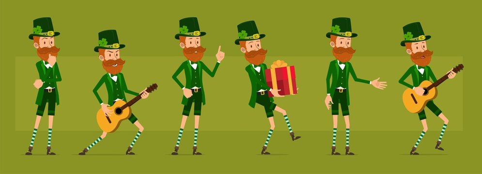 Cartoon funny irish bearded leprechaun boy character with clover hat. Ready for animations. Saint Patricks day. Happy musician with guitar and holiday gift. Big vector icon set.