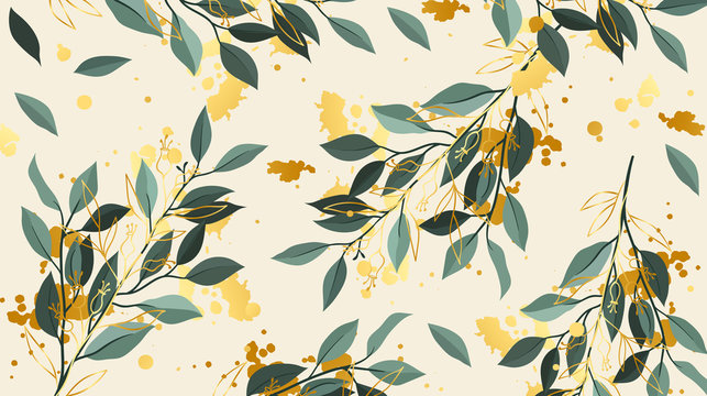 seamless floral background with autumn leaves