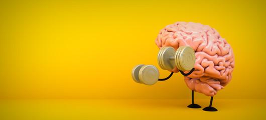brain training on yellow background