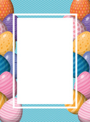 Happy easter eggs frame vector design