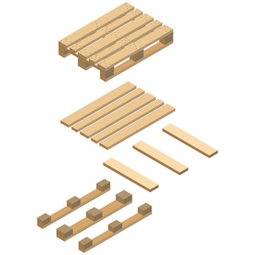 Wooden pallet, assembly, isometric design. Realistic image with the texture of wood and with fasteners. Vector illustration.