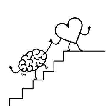 heart helping hand brain to success. Vector concept illustration of heart cooperation with brain on stairs to goal | flat design linear infographic icon black on white background