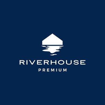 river house logo vector icon illustration