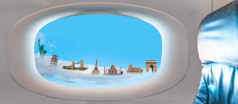 Famous monuments of the world as seen through window of an airplane (colosseum, eiffel tower, pisa tower, Taj mahal, Arch of Triumph, Statue of Liberty, Tower bridge )