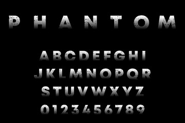 Phantom alphabet template. Letters and numbers with grunge texture. Vector illustration