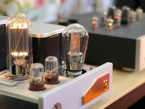 Hifi lamp audiophile amplifiers. Close-up view.