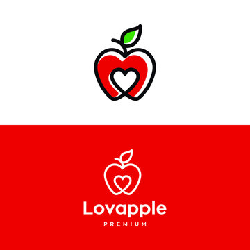 Creative apple logo with love Heart Inside and leaf icon Design Symbol Illustration in trendy colorful lonear line style