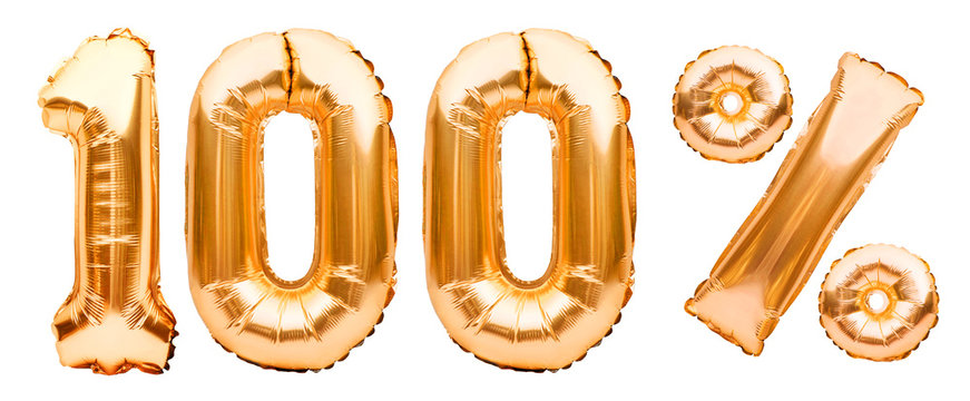 Golden one hundred percent sign made of inflatable balloons isolated on white. Helium balloons, gold foil numbers. Sale decoration, black friday, discount. 100 percent real, original product