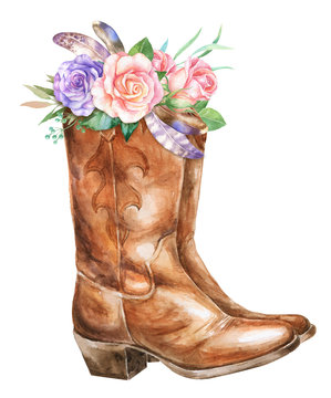 Watercolor cowboy boots with floral decoration
