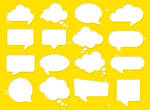 Vector speech clouds chat bubble icon. Vector illustration
