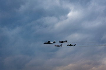 Airplanes in Formation at an Airshow
