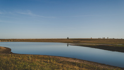 Beautiful landscape of a lake in the steppe