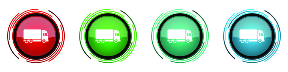 Fotomurales - Delivery round glossy vector icons, set of buttons for webdesign, internet and mobile phone applications in four colors options isolated on white background