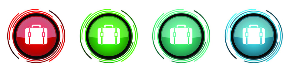 Fotomurales - Bag round glossy vector icons, set of buttons for webdesign, internet and mobile phone applications in four colors options isolated on white background