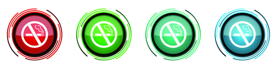 Fotomurales - No smoking round glossy vector icons, set of buttons for webdesign, internet and mobile phone applications in four colors options isolated on white background