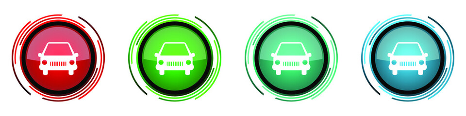 Fotomurales - Car round glossy vector icons, set of buttons for webdesign, internet and mobile phone applications in four colors options isolated on white background