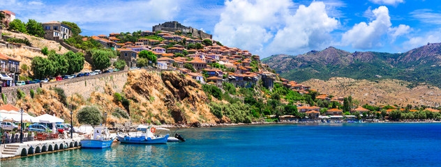 Best of Greece - scenic Lesvos island. Molyvos (Mythimna) town. view of marine with traditional boats and castle