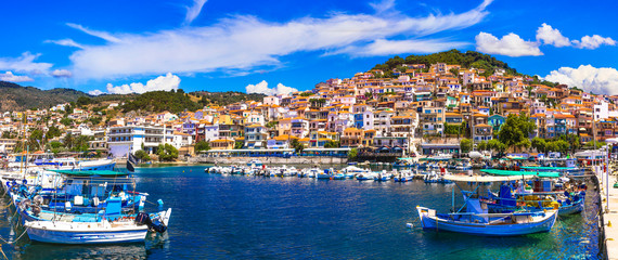 Best of Greece - travel in Lesvos Island, scenic Plomarion town with traditional fishing boats