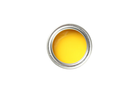 Can of yellow paint isolated on white background