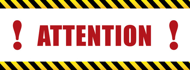 Attention with exclamation mark. black and yellow sign in striped frame. Design with attention icon for banner or poster or signboard. Danger warning.