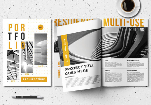 Architecture Portfolio Layout with Orange Accents