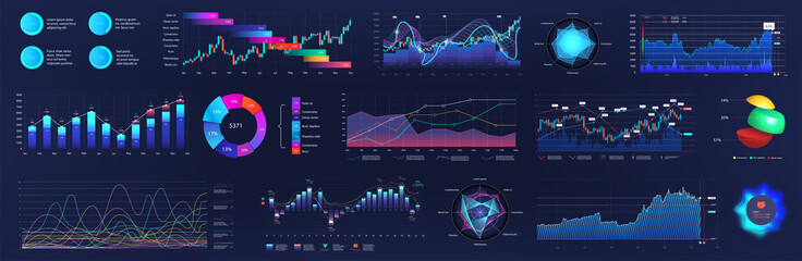 UI User interface elements for dashboard. Futuristic neon infographics, pie charts, bars, data panels, diagrams. Digital elements, tech HUD. UI, UX, KIT visualization screen. Admin panel. Vector set