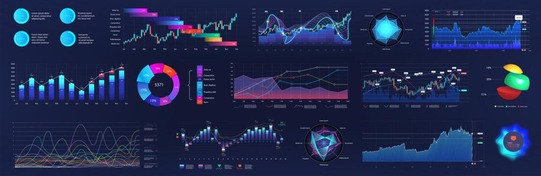 UI User interface elements for dashboard. Futuristic neon infographics, pie charts, bars, data panels, diagrams. Digital elements, tech HUD. UI, UX, KIT visualization screen. Admin panel. Vector set