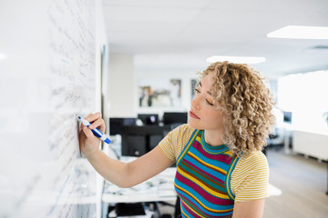 Focused creative businesswoman brainstorming at whiteboard in office