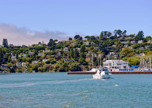 View of Sausalito near the north end of the Golden Gate Bridge in Marin County, California, U.S.A.