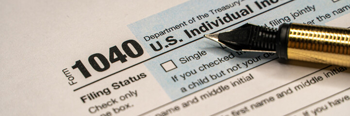 Tax forms 1040. U.S Individual Income Tax Return. wide banner