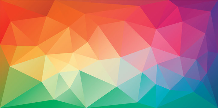 Polygonal triangular background in bright rainbow colors. Colorful banner template. Multicolor geometric backdrop in origami style. Vector eps8 illustration with irregular triangles.