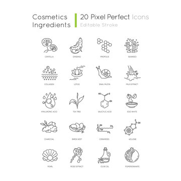 Cosmetic ingredient pixel perfect linear icons set. Exfoliating treatment. Chemical formulas. Customizable thin line contour symbols. Isolated vector outline illustrations. Editable stroke