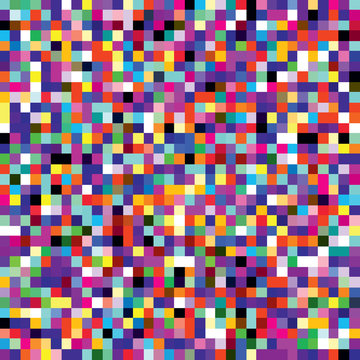 Colorful pixel mosaic seamless pattern. Repeating texture with multiple colors square dots. Retro 8-bit video game style geometric vector background. Vector illustration in EPS8.