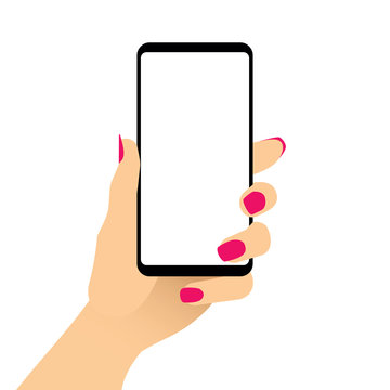 Female hand holding smartphone with blank screen. Woman showing empty cell phone display. Mobile gadget with white touch screen in womans arm. Isolated flat design closeup. Vector EPS8 illustration.