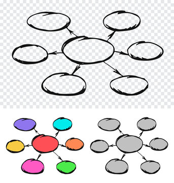 Sketch hand drawn diagram with one elipse in the middle and another six around. Doodle chart scheme in three color variations. Template for mind mapping and other designs. EPS8 vector illustration.