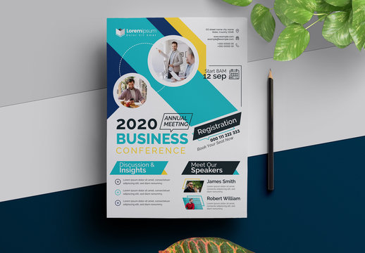 Annual Seminar Event Flyer Layout with Multicolored Accents