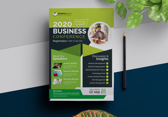 Creative  Conference Event Flyer Layout with Green Accents