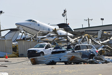 Damage to planes and property at the John C. Tune Airport after a tornado hit Nashville