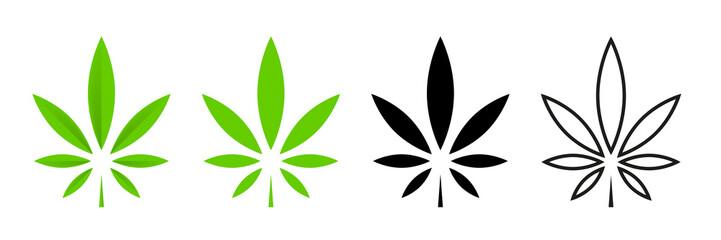 Cannabis leafs vector isolated icon. Vector illustration. Cbd cannabis sign hemp oil. Marijuana icon set. Cannabis icon weed icon vector.