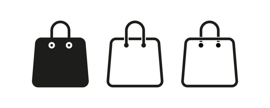 Bag shopping vector isolated icons collection. Line shopping bag icon. Eco bag icon.