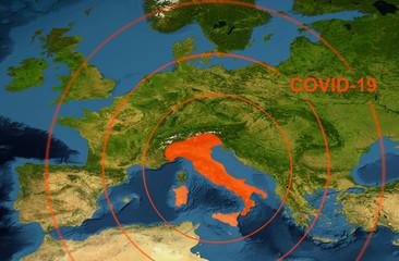 Coronavirus epidemic, word COVID-19 on Europe map. Novel coronavirus outbreak in Italy, the spread of corona virus in the World.