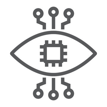 Bionic contact lens line icon, technology and eye, bionic eye sign, vector graphics, a linear pattern on a white background, eps 10.