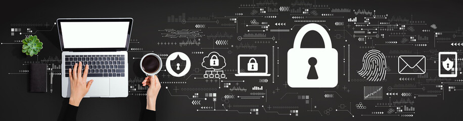 Internet network security concept with person using a laptop computer Wall mural