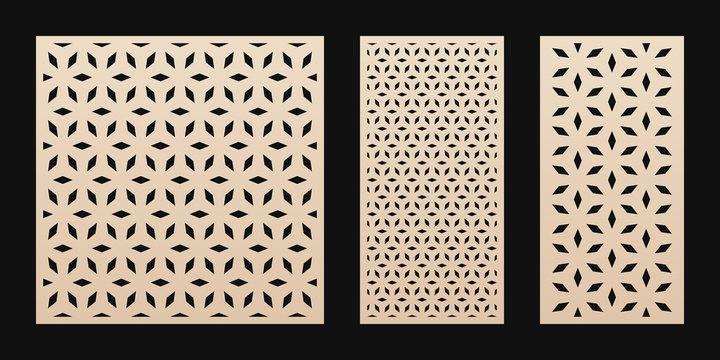 Laser cut pattern. Vector stencil with abstract floral geometric grid, ornament in Asian style. Decorative template for laser cutting panel of wood, paper, metal, plastic. Aspect ratio 1:1, 1:2