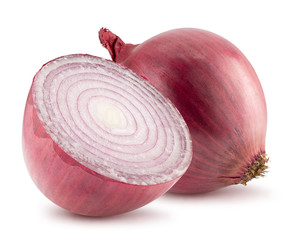 purple onion with half of onion isolated on a white background