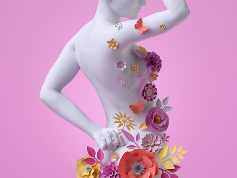 3d render, slim female body back view, white mannequin decorated with colorful paper flowers, woman silhouette isolated on pink background. Fashion floral dress concept. Modern botanical sculpture