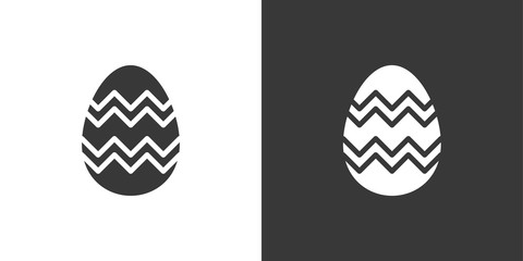 Easter egg. Isolated icon on black and white background. Celebrations vector illustration