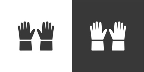 Gloves. Isolated icon on black and white background. Clothing vector illustration